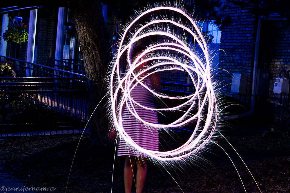light painting using 4th of july sparklers