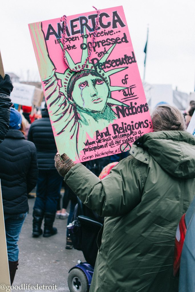 No Ban No Wall Peaceful Protest in Hamtramck, Michigan