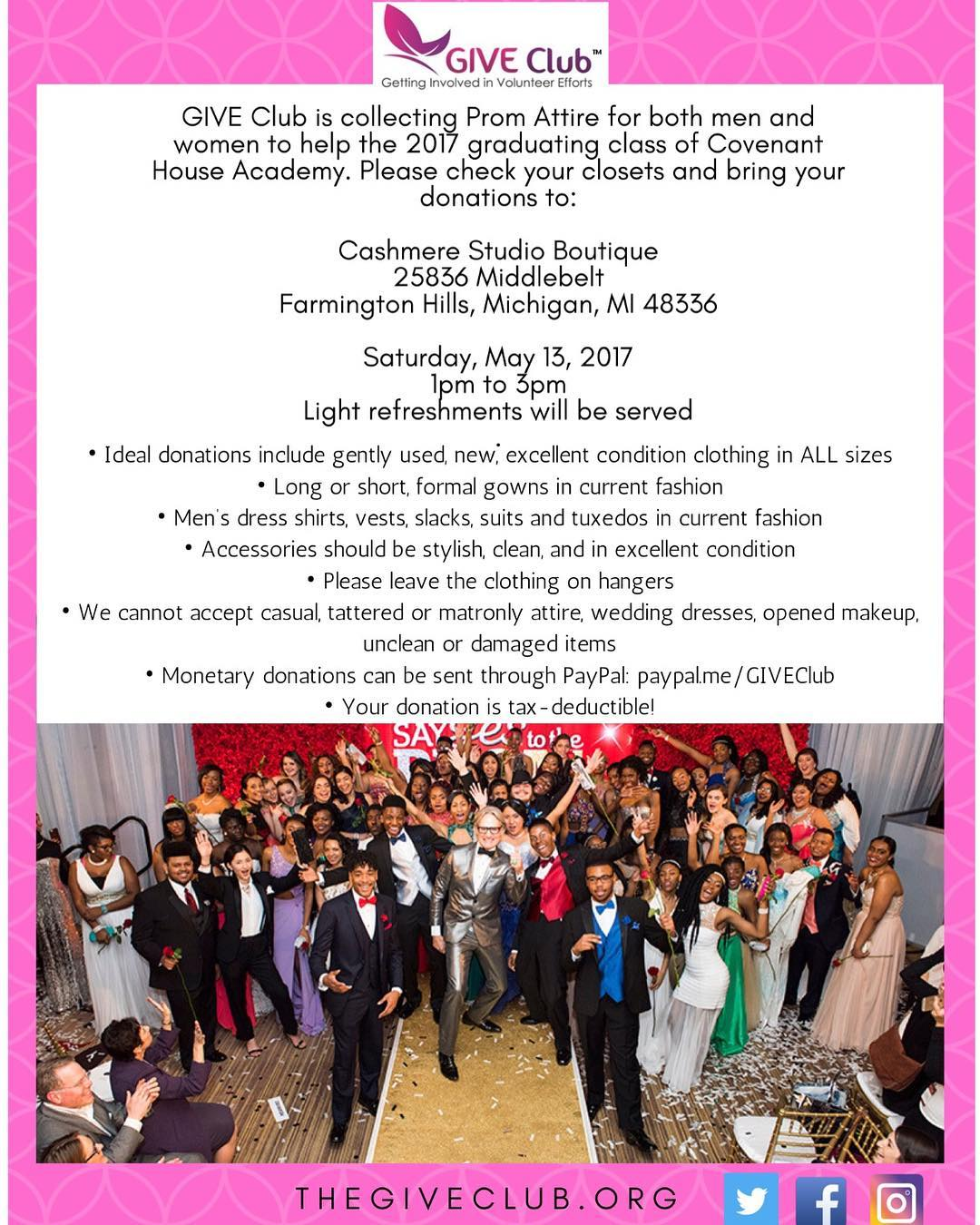 GIVE Club Collecting Prom Attire