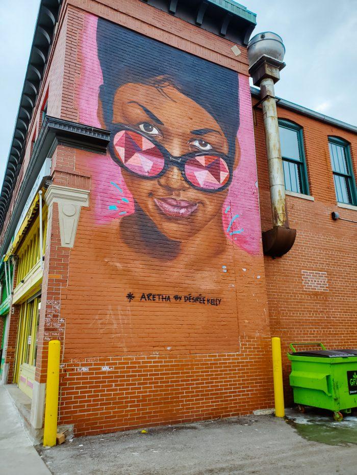 Aretha Franklin mural in Detroit Eastern Market by Désirée Kelly