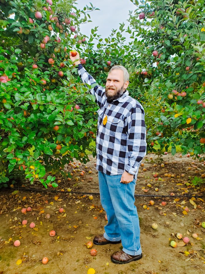Travis apple picking at Westview Orchards in Michigan