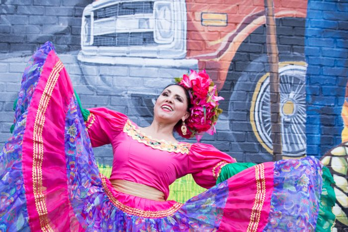Elton Monroy Mural Honors Southwest Detroit's Community (woman dancing a traditional Mexican dance)