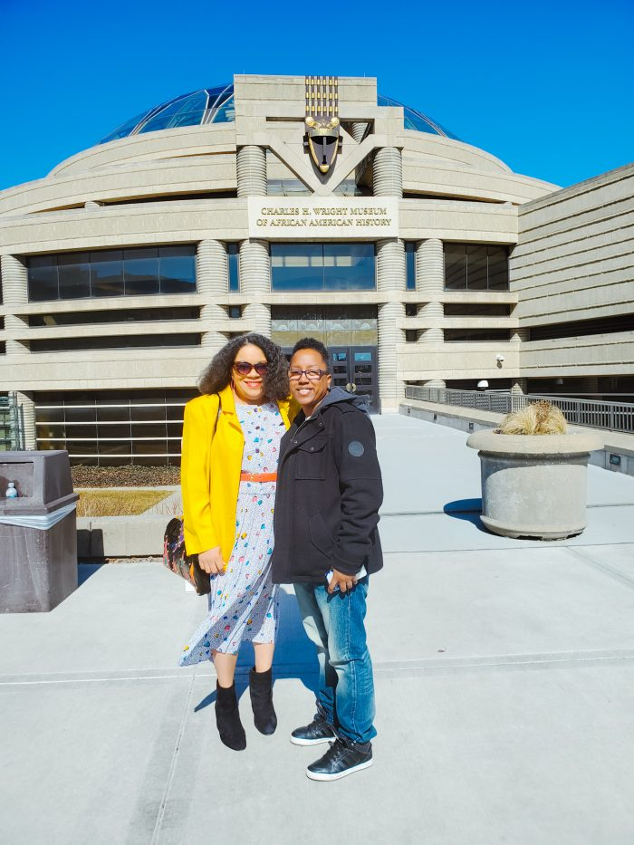Jennifer Hamra and Jess McKenzie at The Charles H. Wright Museum of African American History in Detroit.
