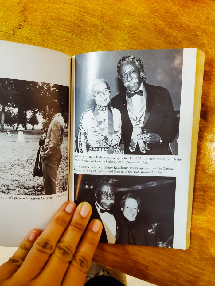 Photo of photographer Gordon Parks with Civil Rights activist Rosa Parks from the Gordon Parks autobiography. Featured at the Black Art Library in Detroit.