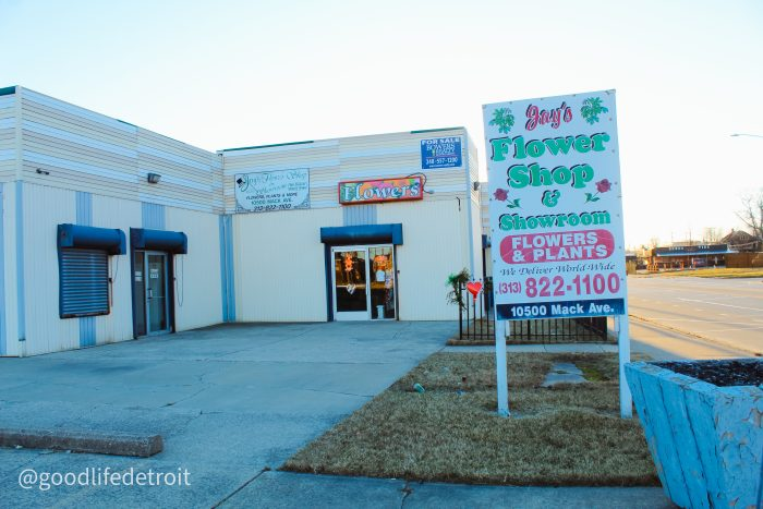Detroit florists: Jay's Flower Shop and Wholesale located at 10500 Mack Avenue on Detroit's east side.