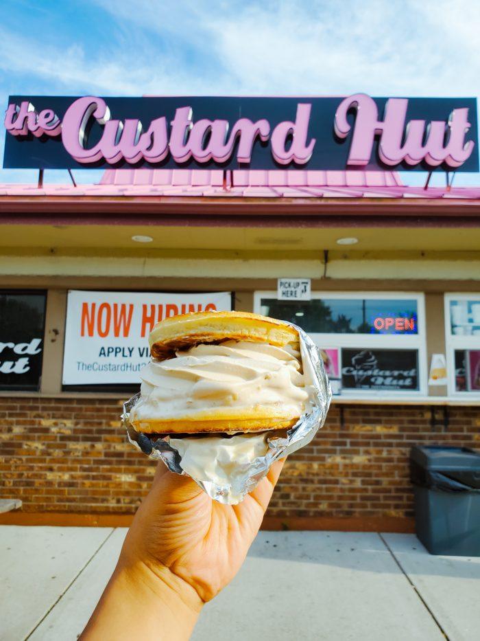 The Custard Hut hot waffle ice cream sandwich is delicious!