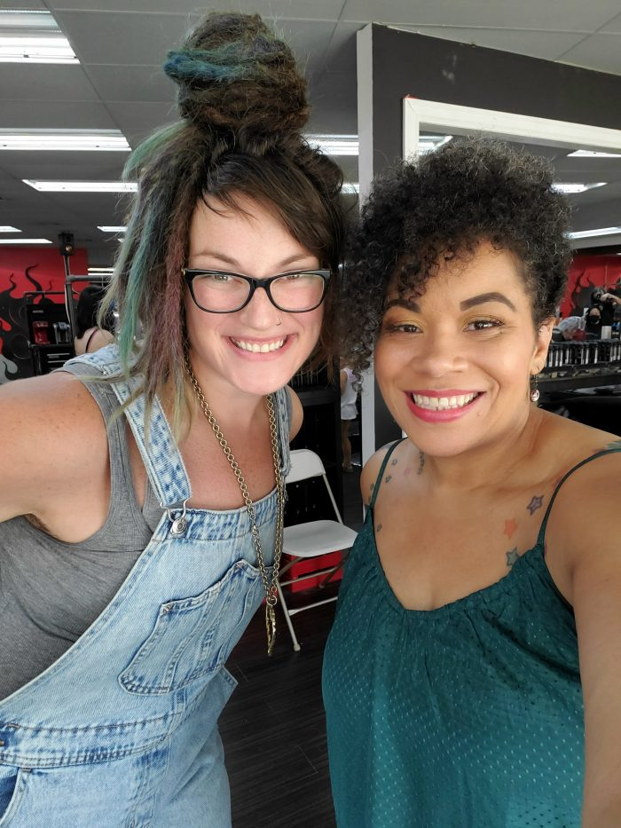 Ali aka motorcityhairwitch on Instagram, in a selfie photo with me at the Dye Salon in Ferndale, Michigan.
