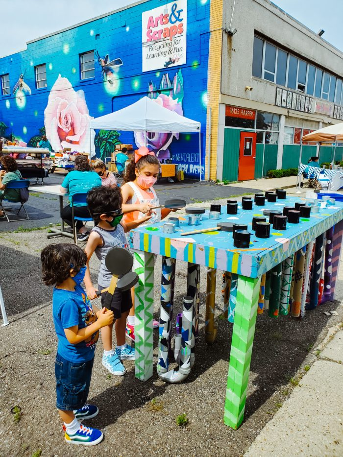 The kids enjoyed making crafts and playing games at Arts and Scraps' Reconnect Reuse Day in July. Arts and Scraps is located in Detroit, Michigan.