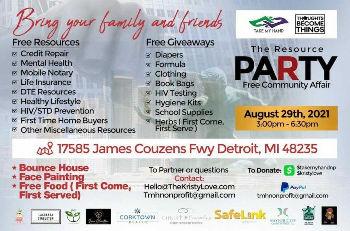 Detroit back-to-school event announcement from The Resource Party.