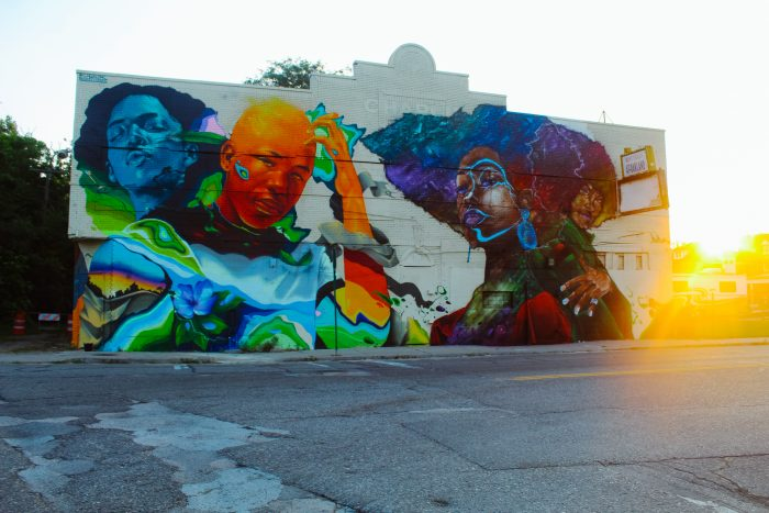 Artists Max Sansing and ProBlak created beautiful mural art in Detroit, Michigan for the BLKOUT Walls Festival.
