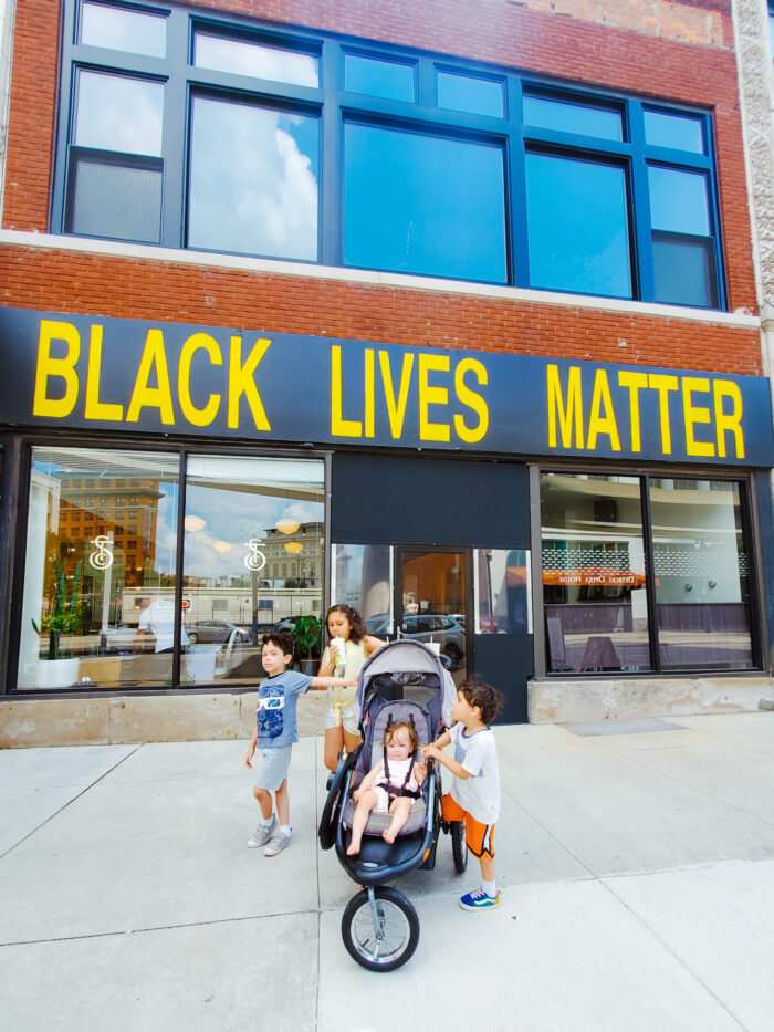 Black Lives Matter sign on The Social Club Grooming Co. in Downtown Detroit, Michigan