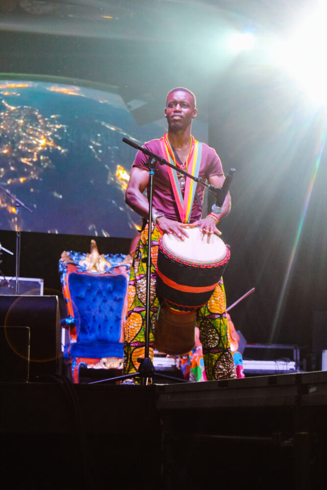 Detroit percussionist Sowande Keita perfroms at the African World Festival in Detroit, Michigan.