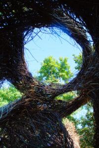 inside the 'Stickwork' art sculpture