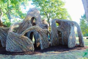 Stickwork art sculptures at Eliza Howell Park in Detroit