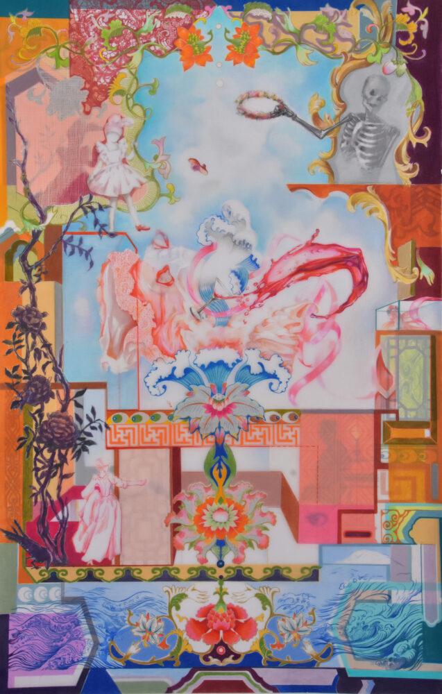 "Painting entitled ""Fragonard's Temptation"" by artist Luzhen Qiu"