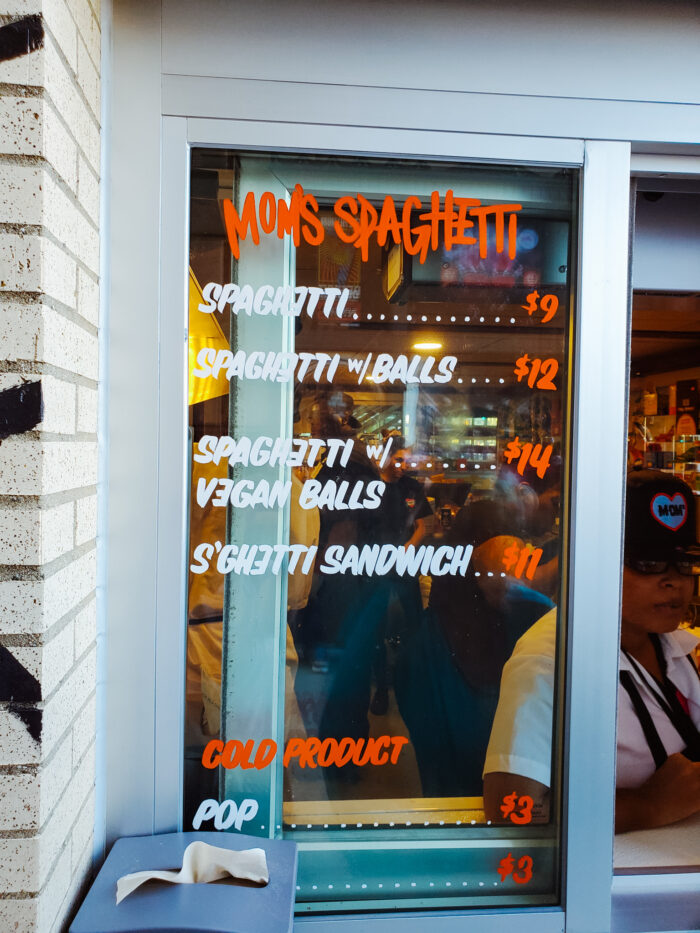 The menu on the walk-up window at Mom's Spaghetti.