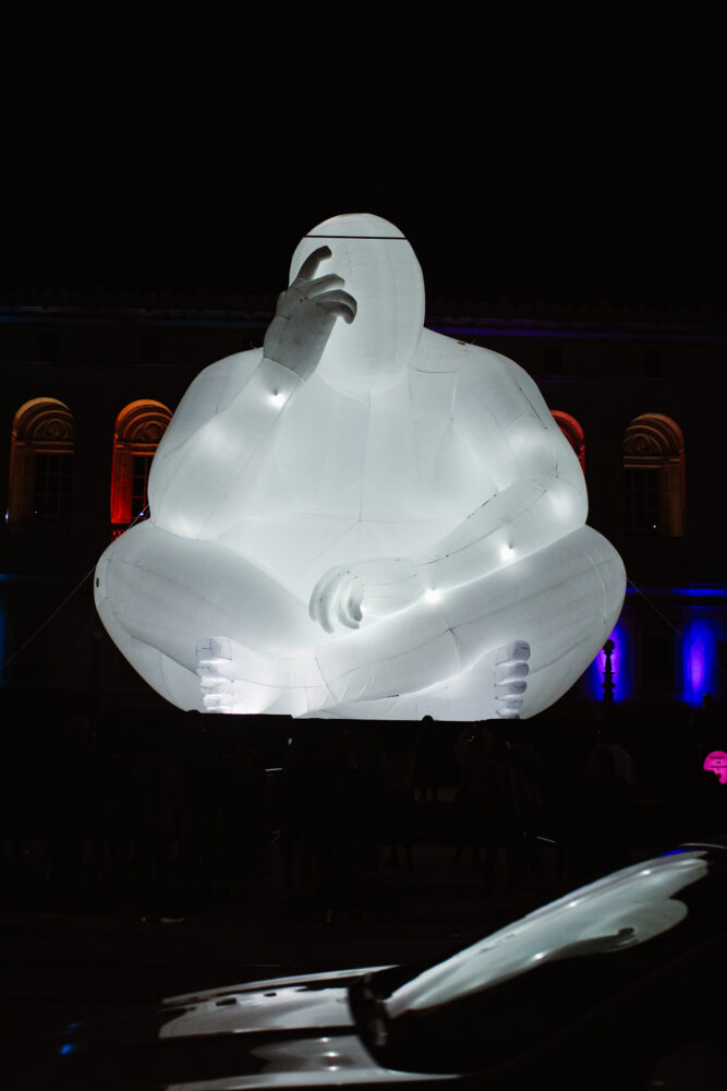 """""""Man"""" by Amanda Parer at DLECTRICITY 2021. The event is inspired by Nuit Blanche."""