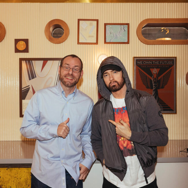 Shade 45 host Rude Jude and Detroit rapper Eminem at the grand opening of Mom's Spaghetti.